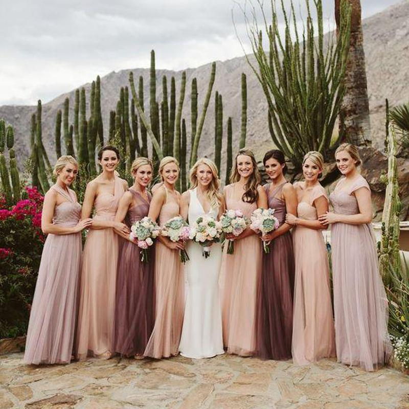 Convertiable Cheap Long Tulle Bridesmaid Dresses Online, WG206