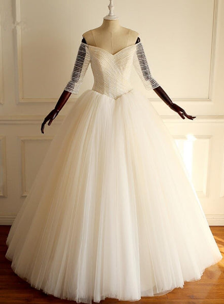 Off Shoulder Long Sleeve Beaded A-line Lace Long Custom Cheap Wedding Dresses, WD303