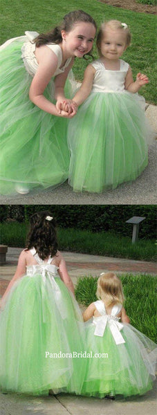 Charming Green Regular Straps V-Back A-Line Tulle Flower Girl Dresses With Bow-Knot, Cheap Flower Girl Dresses, PD0219