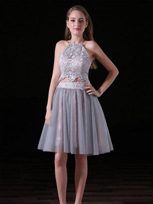 Sexy Two Pieces Backless Grey Short Cheap Homecoming Dresses Online