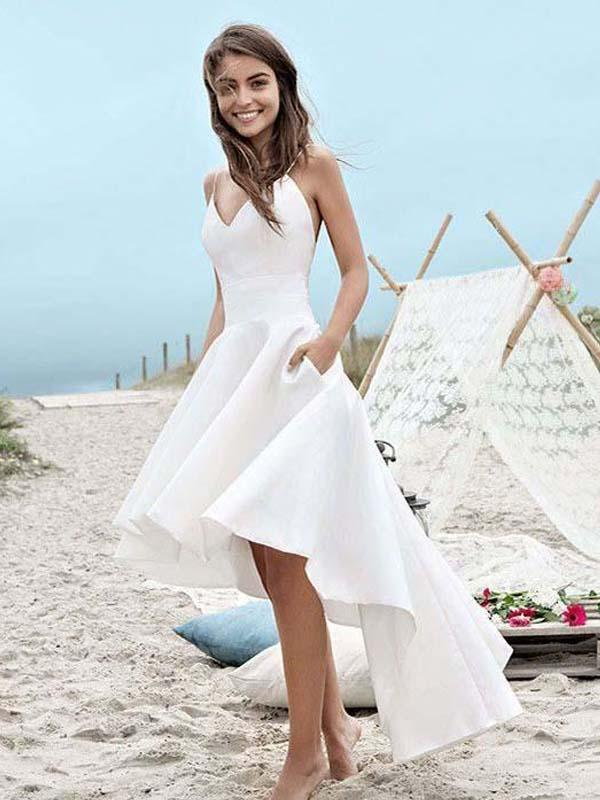 White High Low Simple Cheap Homecoming Dresses Online Cm541