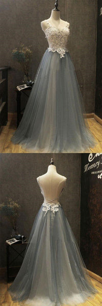 Gorgeous Spaghetti Straps Lace Top Open Back Long A-Line Tulle Prom Dresses With Beaded, Prom Dresses, VB01266