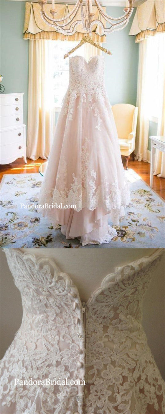 30e192fa0f Beautiful Light Blush Pink Sweetheart Wedding Gown, High-Low Beach Wedding  Dresses With Lace