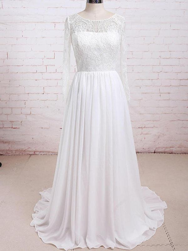 Long Sleeves Lace See Through Cheap Beach Wedding Dresses Online
