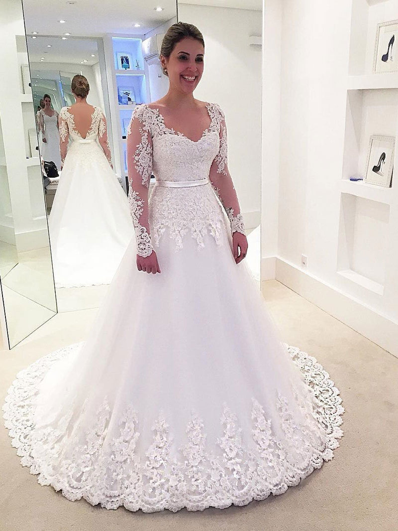 Long Sleeve Lace Backless A-line Cheap Wedding Dresses Online, WD338 ...