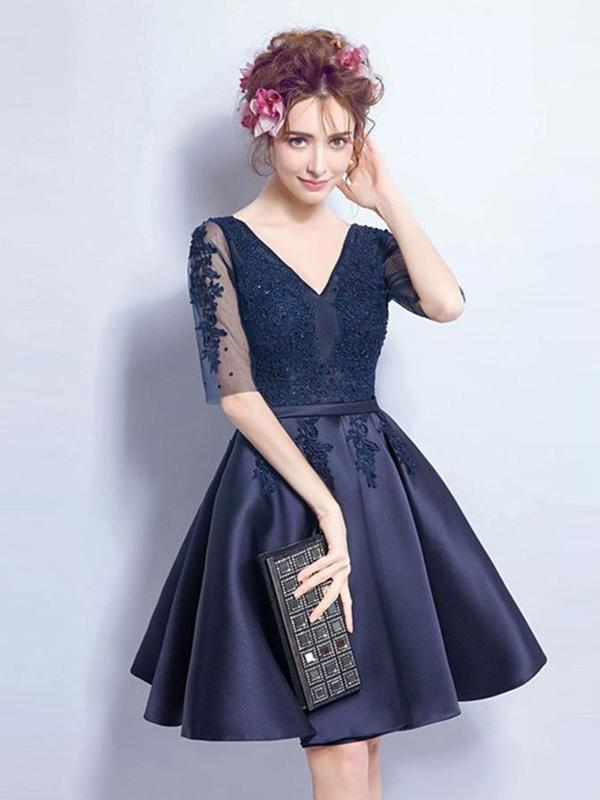 a0d20b01ca Cheap Short Cute Long Sleeve Lace Navy Homecoming Dresses 2018 ...