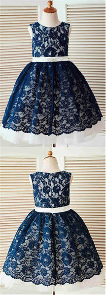 Pretty Navy Scoop Neckline Zipper Up Floral Lace Flower Girl Dresses, Charming Flower Girl Dresses With Embellished Sash, PD0274