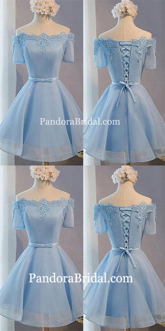 e495de4f0e7 Light Blue off shoulder with short sleeve lace lovely homecoming prom  dresses