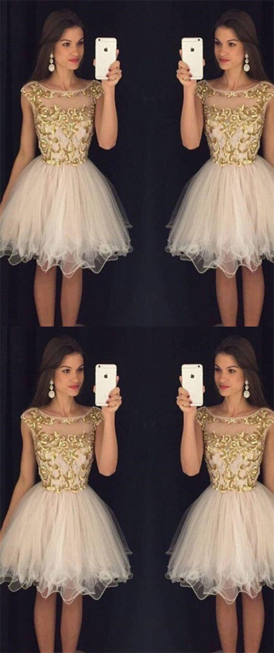 85c7960ed1 Popular Scoop Neckline Cap Sleeve With Gold Lace A-Line Short Homecoming  Dresses