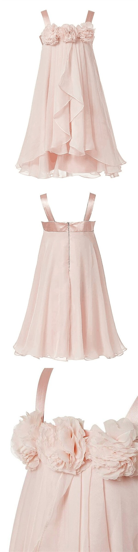 55fff2b111f Pink Straps Zipper Up Flower Girl Dresses With Flower Appliques