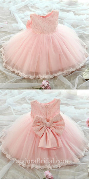 Lovely Pink Scoop Neckline Zipper Up Lace Top Ball Gown For Flower Girl Dresses, Charming Flower Girl Dresses With Bow-Knot, PD0216