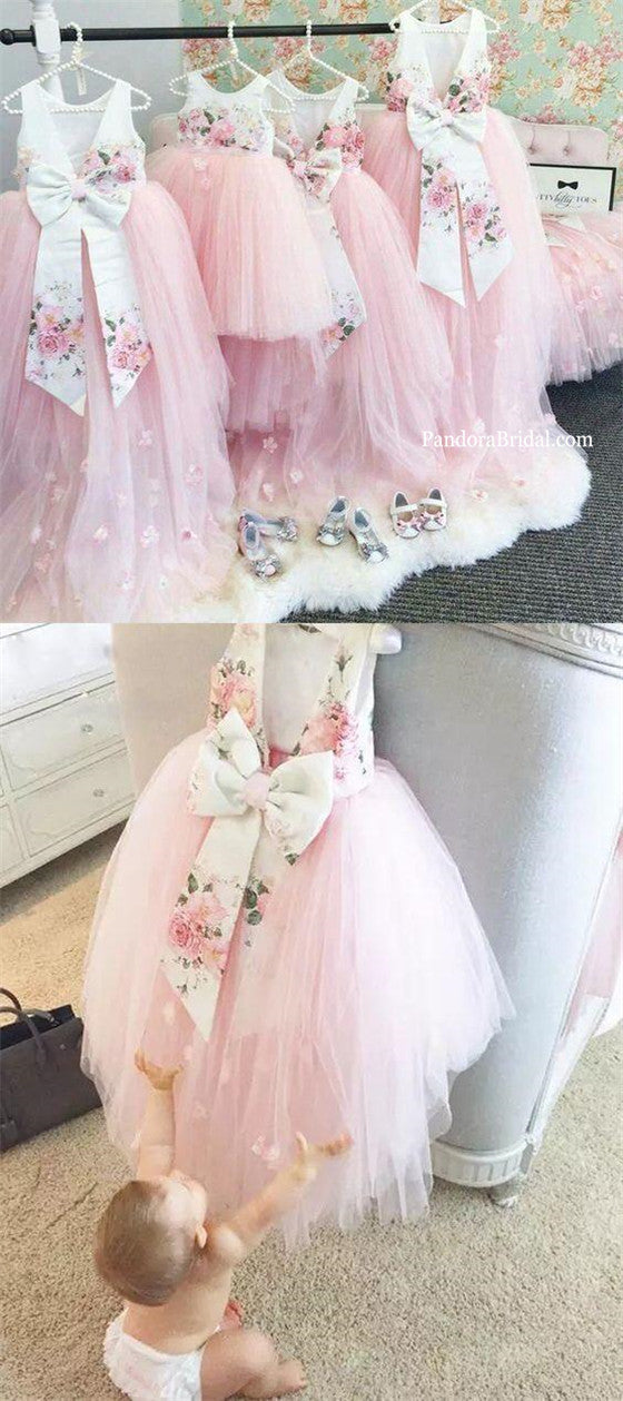 cc47f096980 Beautiful Floral Printed Top V-Back Pink Tulle High Low Flower Girl Dresses  With Flower