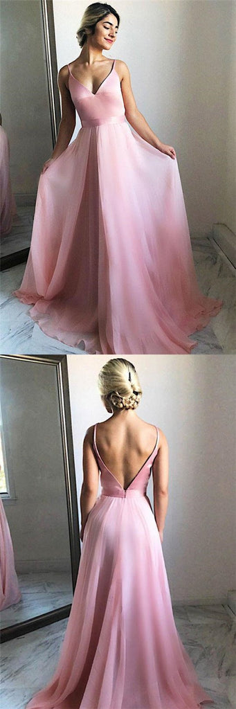 Sweet Pink Spaghetti Straps V-Back Long A-Line Prom Dresses, Simple Prom Dresses, VB01286