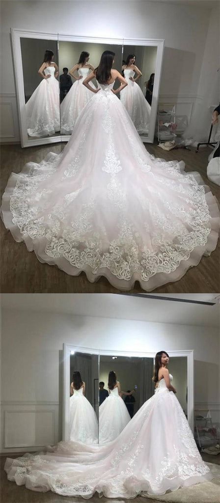 Gorgeous Pink Strapless Open Back Wedding Dresses With Lace Appliques, Charming Ball Gown For Bride With Chapel Train, Wedding Dresses, PD0280