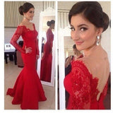 Red Lace Off Shoulder Long Sleeve Mermaid Soft Satin Long Prom Dresses, PD0198