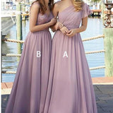 Chiffon Mismatched Long Cheap Bridesmaid Dresses Online, WG262