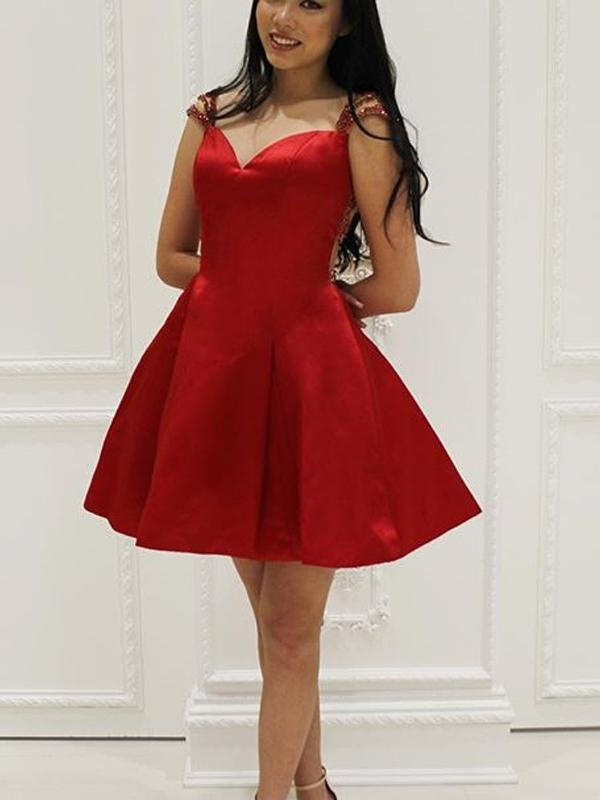 Sexy See Through Cap Sleeve Short Cheap Red Homecoming Dresses 2018, CM519