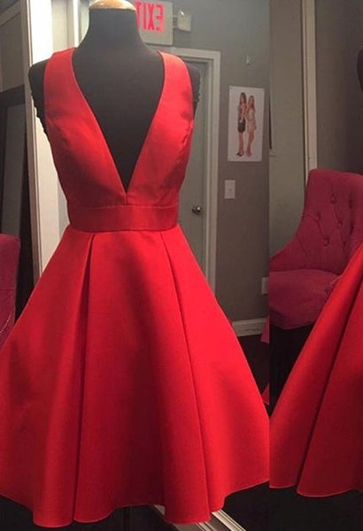 Short Cheap Simple V Neck Red Homecoming Dresses 2018, CM517