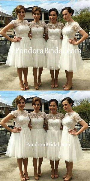 Beautiful Cap Sleeve White Tulle Short Sleeve Knee-Length Wedding Party Dresses, Short A-Line Bridesmaid Dresses, PD0022