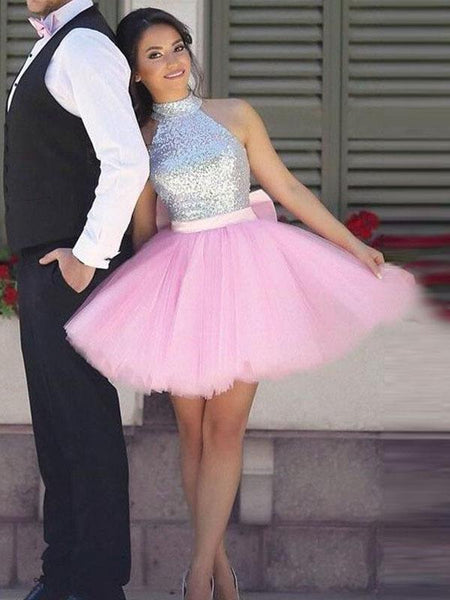 Simple Cute Short Silver Sequin Pink Skirt Cheap Homecoming Dresses 2018, CM523