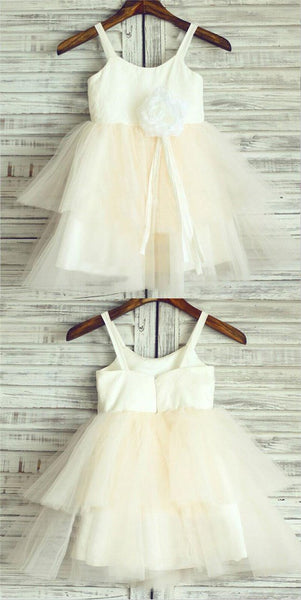 Comfortable Spaghetti Straps Zipper Up Layered Flower Girl Dresses With Appliques, Little Girl Dresses, VB01237