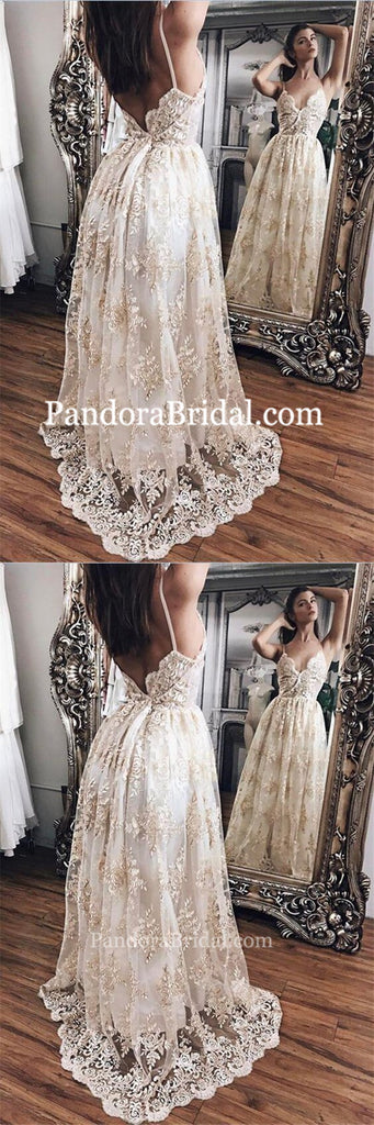 Champagne Lace With White Lining Wedding Dresses, Sexy Spaghetti Straps Wedding Dresses, PD0004