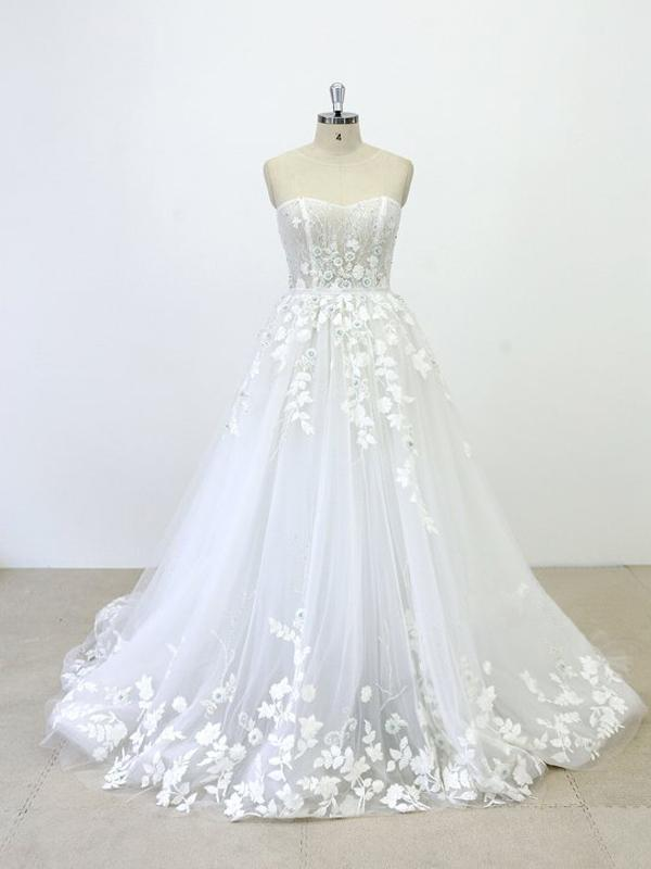 Strapless Lace See Through Beaded A-line Unique Wedding Dresses ...