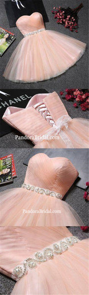Simple Beading Sweetheart Sleeveless Lace Up Short Homecoming Dresses With Sash, Cheap A-Line Homecoming Dresses, PD0270