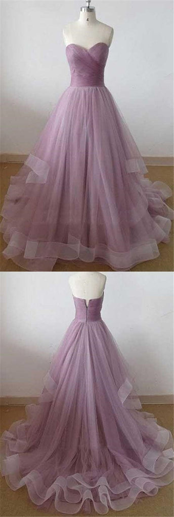 Simple Purple Sweetheart Top Pleated Zipper Up A-Line Floor Length Organza Prom Dresses, Cheap Prom Dresses, VB01259