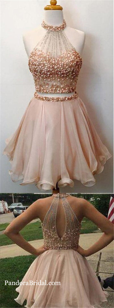 Blush Pink Two Piece Halter Key Hole Back With Pearls Homecoming Dresses, Shinny Sweet 16 Dresses, PD0263