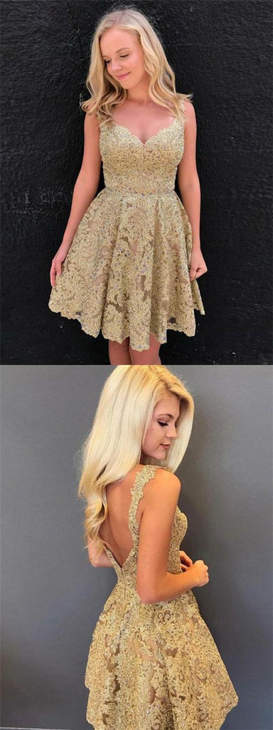 Unique V-Neck Sleeveless V-Back Gold Lace Homecoming Dresses, Hot Sale Homecoming Dresses, VB01170