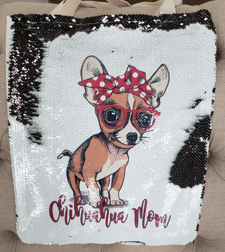 Chihuahua Mom Sequin Tote Bag