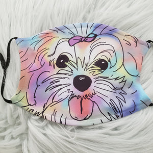 Watercolor Fluffy Pup Mask