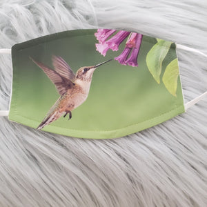 Hummingbird with Trumpet Flowers (1) Mask