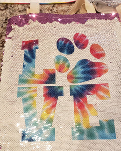 "Tie Dye ""Love"" with Dog Paw Sequin Tote Bag"