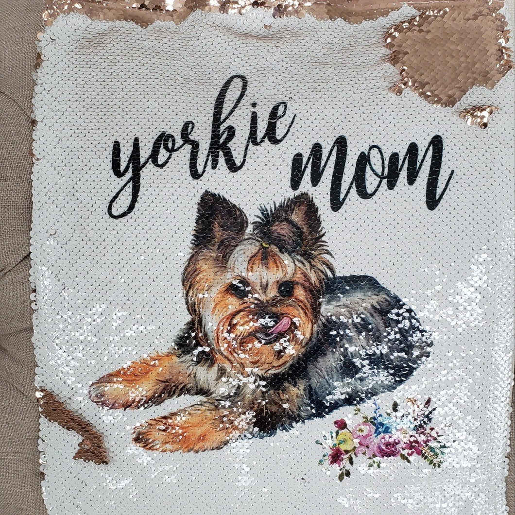 Yorkie Mom Sequin Tote Bag