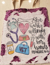 "Veterinarian ""She Works Willingly with her Hands"" Sequin Tote Bag"