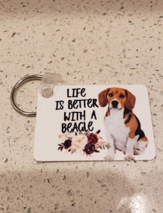 "Beagle ""Life is Better with a Beagle"" Keychain"