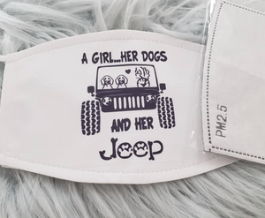 "Jeep ""A Girl...Her Dogs, And Her Jeep"" Mask"