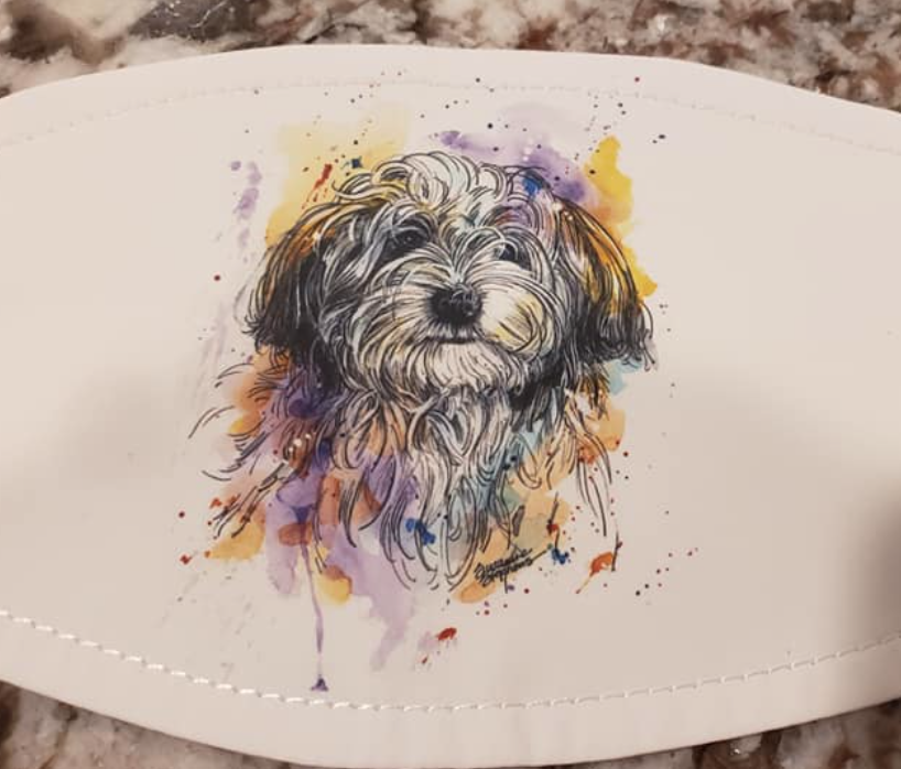 Havanese Watercolor Splash Mask