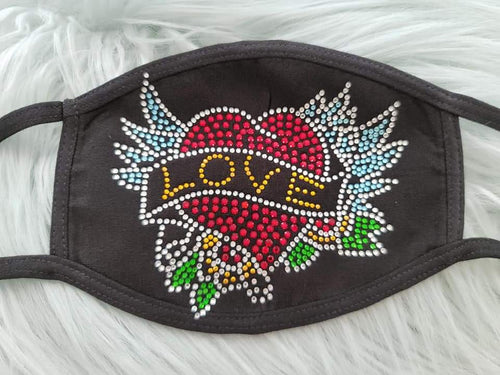 Rhinestone Tattoo Love Heart With Wings Mask