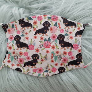 Dachshund Floral Pattern Mask