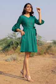 FOREST GREEN STRIPED MIDI