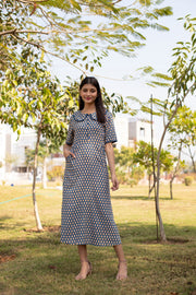 IKKAT FRONT BUTTON COLLAR MAXI