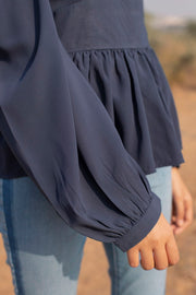 NAVY BLUE OPEN BACK TOP