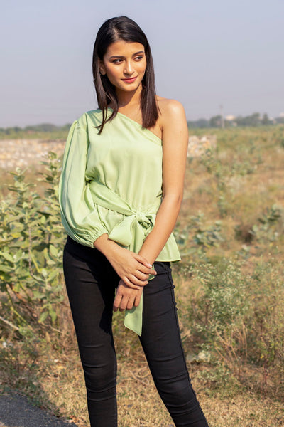 PISTA GREEN ONE SHOULDER TOP