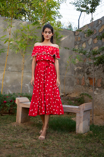 RED & WHITE POLKA DOT MAXI