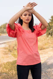 TOMATO PINK BALLOON SLEEVE TOP