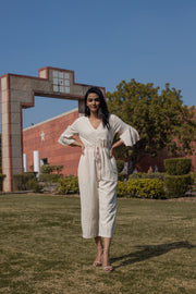 CLASSIC BEIGE STRIPED JUMPSUIT