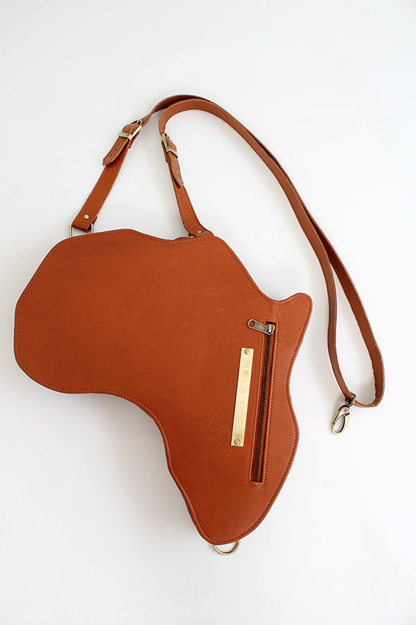 Africa shaped Bag / Backpack- Brown Leather (L) | Alkebulan Collection - SHOP | Orijin Culture